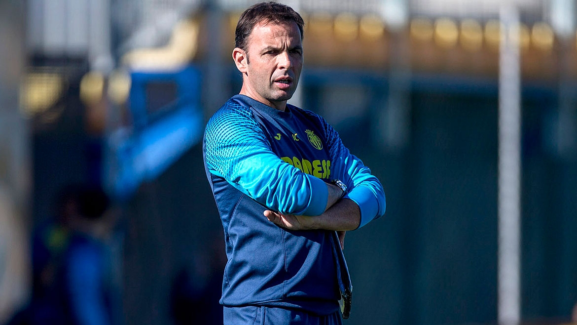 Photo: Javi Calleja during a training session at the Villarreal CF Training Ground (Ciudad Deportiva).