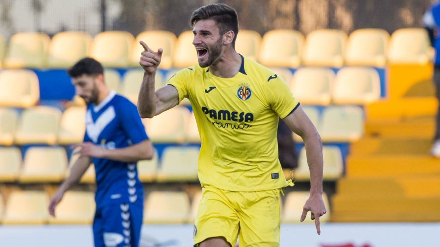 PHOTO: Mario González celebrates scoring against Badalona