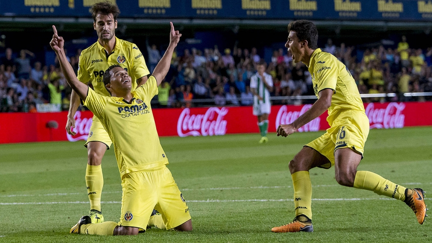 Carlos Bacca scored his first goal for Villarreal and he celebrated like this.