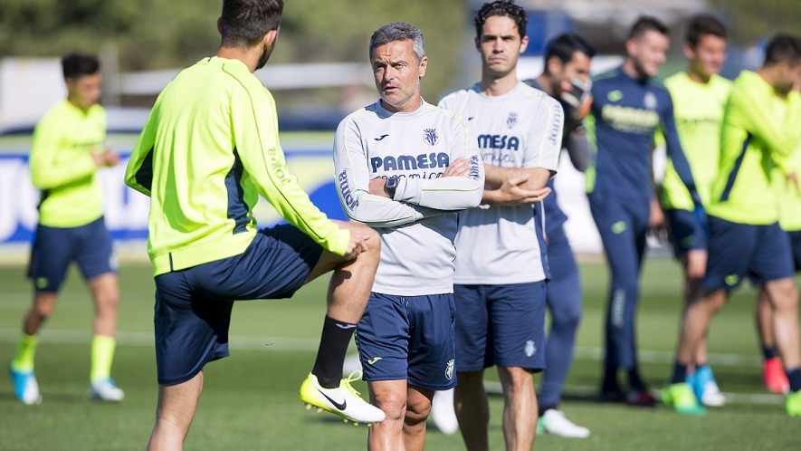 Fran Escribá, during a training session at the Villarreal CF Training Ground.